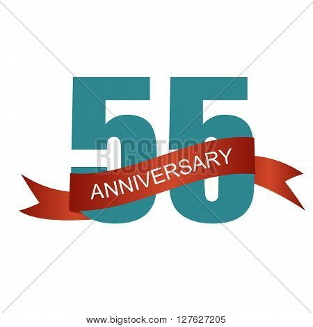 Fifty Five 55 Years Anniversary Label Sign for your Date. Vector Illustration EPS10