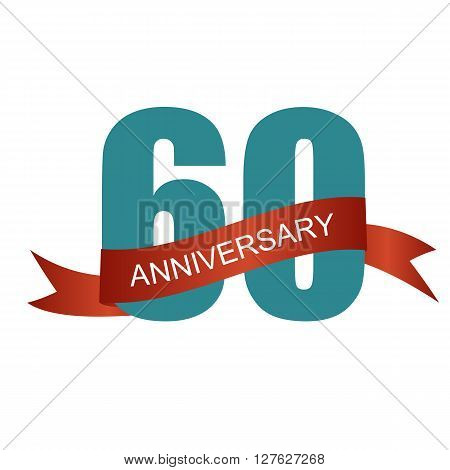 Sixty 60 Years Anniversary Label Sign for your Date. Vector Illustration EPS10