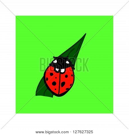 A simple image of a red beetle with black spots on the wings. Ladybug on a leaf. Vector illustration on a green background.