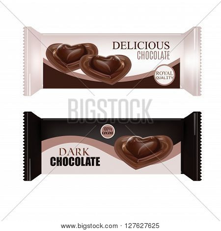 Vector Food Packaging For Biscuit Wafer Crackers Sweets Chocolate Bar Candy Bar Snacks . Chocolate bar Design Isolated On White Background. Liquid Chocolate Heart Candy.