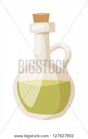 Olive oil glass bottle vector