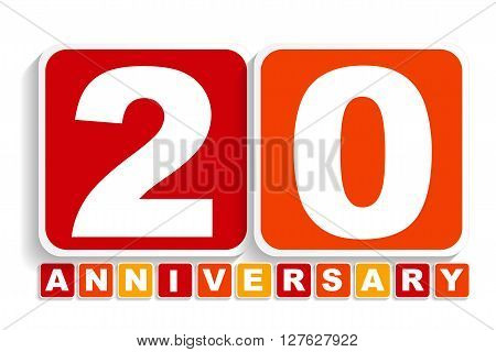 Twenty 20 Years Anniversary Label Sign for your Date. Vector Illustration EPS10