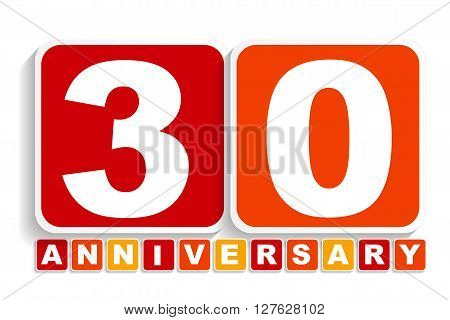 Thirty 30 Years Anniversary Label Sign for your Date. Vector Illustration EPS10