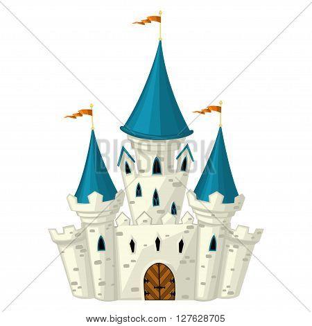 Vector cartoon fairytale castle. White brick towers.