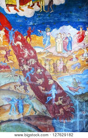 SAMBATA MONASTERY, 23 October 2015 - Orthodox painting of Sambata Monastery, Romania, Europe