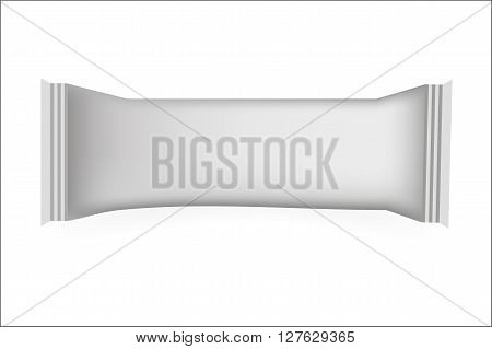 White Blank Food Packaging For Biscuit Wafer Crackers Sweets Chocolate Bar Candy Bar Snacks . Design Template. Isolated On White Background. Wrapper Mock-up.