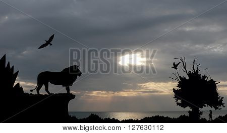Jungle With Mountains, Old Tree, Birds Lion And Meerkat On Sea Sunset With Grey Cloudy Sky Backgroun