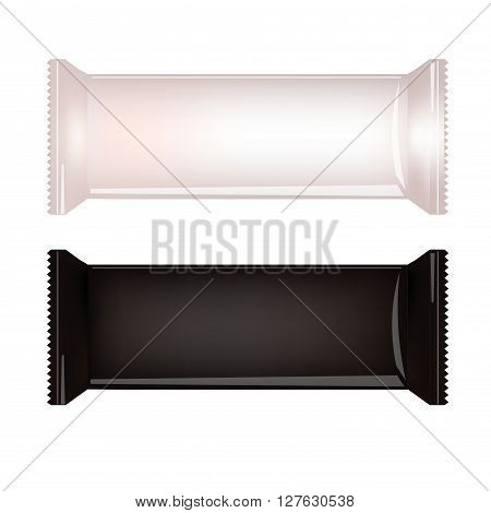 White and Black Blank Food Packaging For Biscuit Wafer Crackers Sweets Chocolate Bar Candy Bar Snacks . Design Template. Isolated On White Background. Wrapper Mock-up.