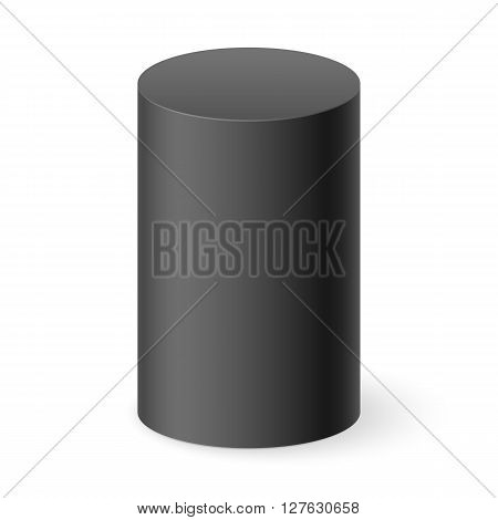 Black 3d cylinder isolated on white background