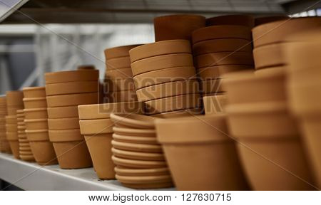 Shelf Of Clay Pots