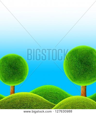 Fantastic landscape. 3D illustration