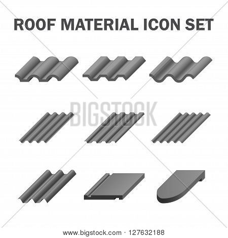 Roof material icon sets isolated on white.