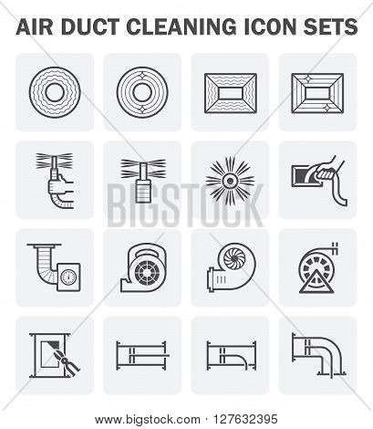 Air duct cleaning vector icon sets. (easy to edit icon)