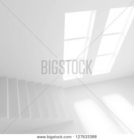 3d Illustration od Interior Design. White Room with Window. Abstract Architecture Background