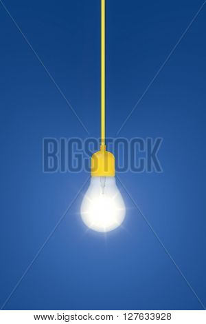 3d rendering of a light bulb on a blue background