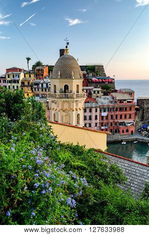 Vernazza (Cinque Terre Italy) and landscape at sunset