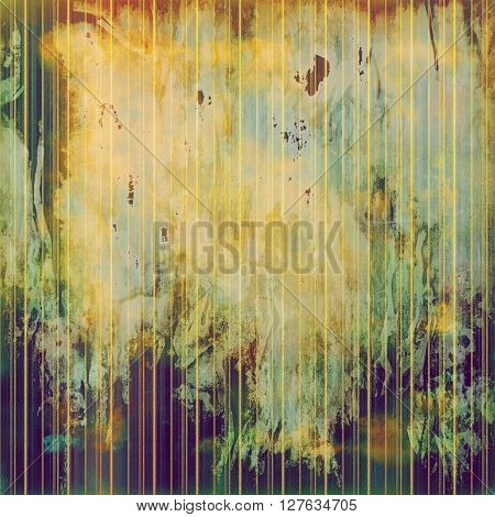 Aged background or texture. Vintage graphic composition with grunge style elements and different color patterns: yellow (beige); brown; gray; green; red (orange); purple (violet)