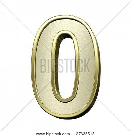 One digit from brushed gold with shiny frame alphabet set, isolated on white. 3D illustration.
