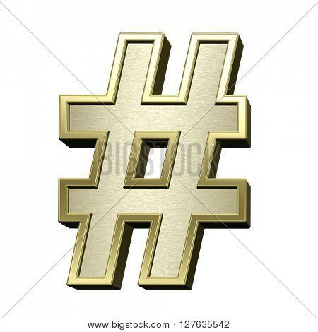 Number mark from brushed gold with shiny frame alphabet set, isolated on white. 3D illustration.