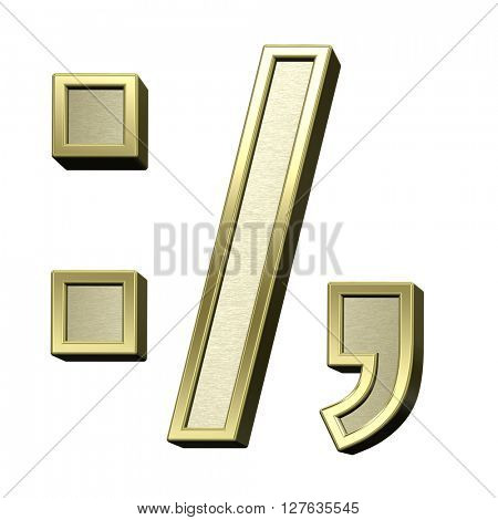 Colon, semicolon, period, comma from brushed gold with shiny frame alphabet set, isolated on white. 3D illustration.