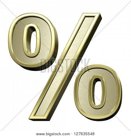 Percent sign from brushed gold with shiny frame alphabet set, isolated on white. 3D illustration.