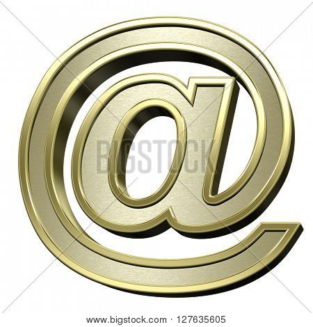 Mail sign from brushed gold with shiny frame alphabet set, isolated on white. 3D illustration.