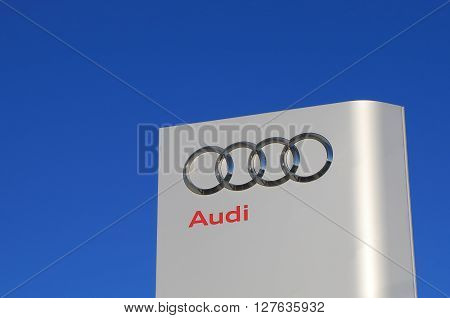 MELBOURNE AUSTRALIA - APRIL 24, 2016: Audi car manufacturer.  Audi is a German automobile manufacturer that designs, engineers, produces, markets and distributes luxury vehicles.