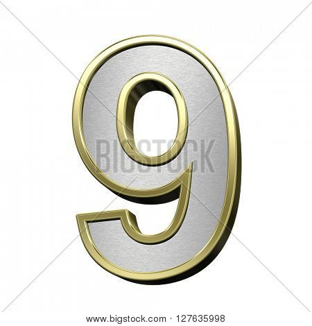 One digit from brushed silver with shiny gold frame alphabet set, isolated on white. 3D illustration.