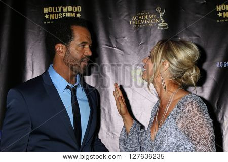 LOS ANGELES - APR 27:  Kristoff St John, Sharon Case at the 2016 Daytime EMMY Awards Nominees Reception at the Hollywood Museum on April 27, 2016 in Los Angeles, CA