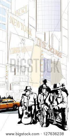 Jazz band in New York - vector illustration