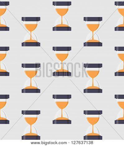 Hourglass, Sandglass Icon Seamless Pattern Background in Flat Style. Vector Illustration EPS10
