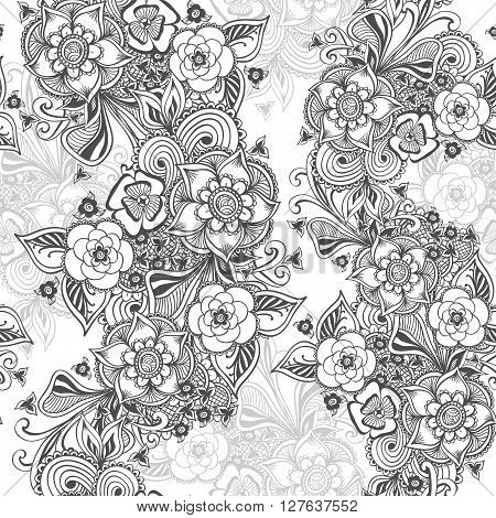 Seamless pattern in  Zen-doodle flowers or  Zen-tangle  style black on white for coloring page or relax coloring book or wallpaper or for decorate package clothes  or different things