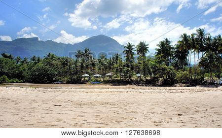 Tropical beach and Blue ocean. White sand. Seascape. Philippines. Palawan Island .
