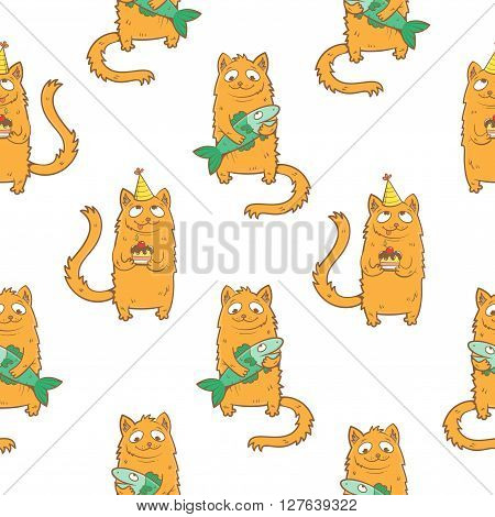 Seamless pattern with cute cartoon cats and fish on  white  background. Children's illustration. Cats with cake in party hat. Vector image.