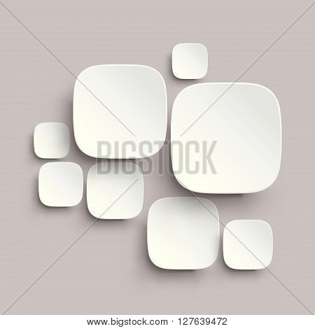 illustration of round corner squares with shadows white color on grey background