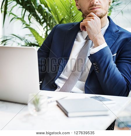 Businessman Working Thinking Business Concept