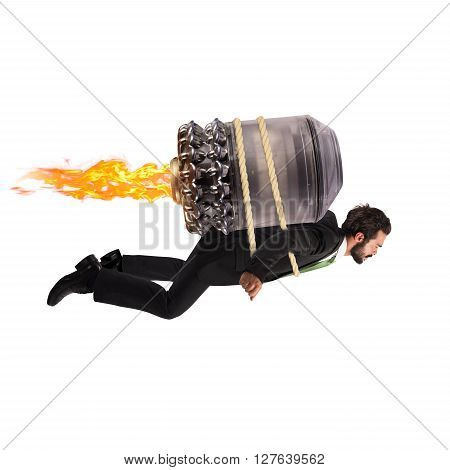 Businessman flying with a turbine with fire