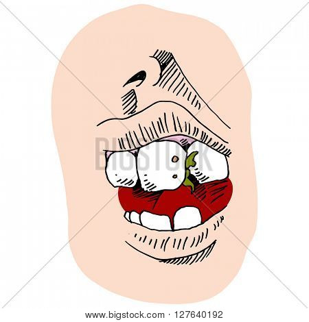An image of a mouth with food in teeth.