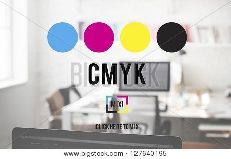 CMYK Cyan Magenta Yellow Key Color Printing Process Concept