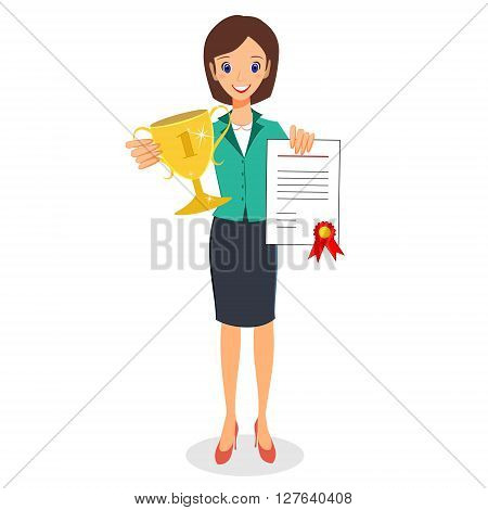 Businesswoman concept winner success character vector. Excited smiling cartoon female raising trophy prize and certificate. Isolated on white background