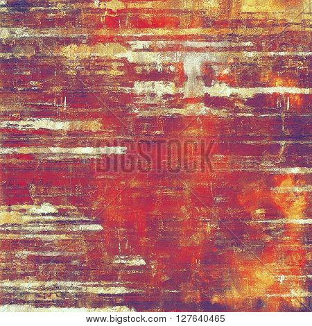 Aged background or texture. Vintage graphic composition with grunge style elements and different color patterns: yellow (beige); brown; red (orange); purple (violet); pink