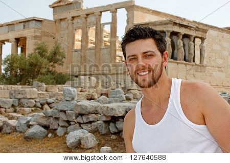 Portrait of a young tourist in Athens, Greece