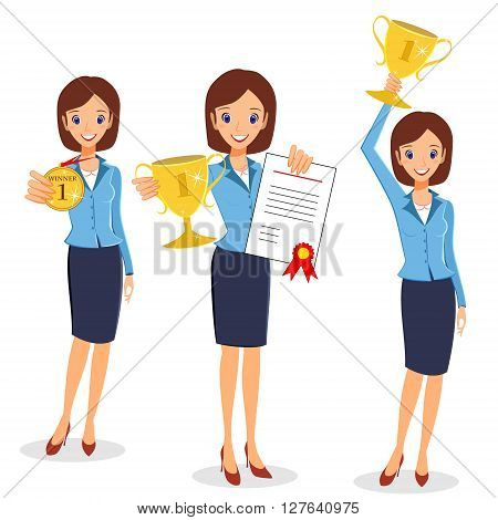 Businesswoman concept winner success. Business woman character vector set collection. Excited smiling cartoon female raising trophy prize medal and certificate. Isolated on white background