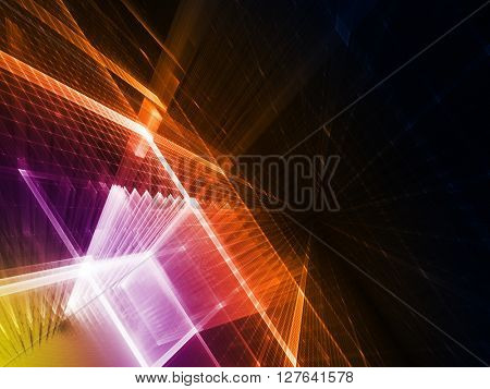 Abstract background element. Fractal graphics series. Three-dimensional composition of intersecting grids. Information technology concept.Violet and orange over black colors.