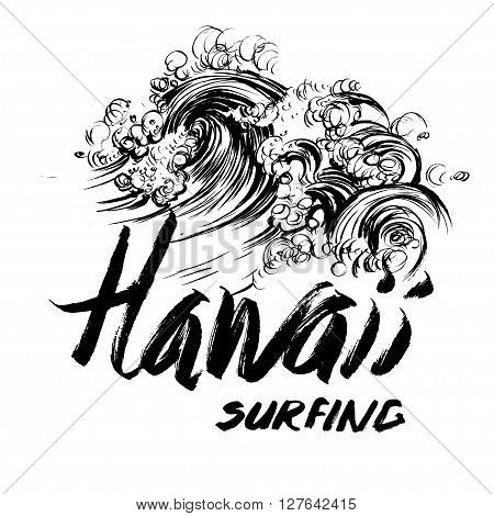 Hawaii Surfing Lettering calligraphy brush ink sketch handdrawn serigraphy print