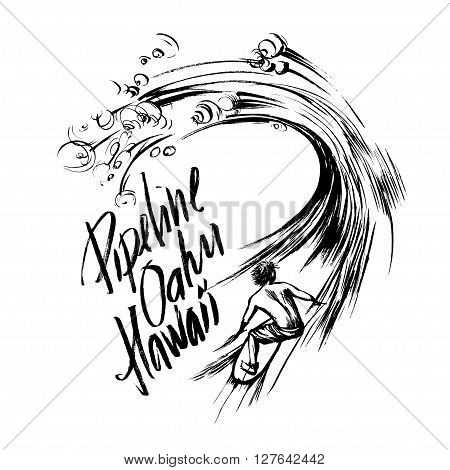Pipeline Oahu Hawaii Lettering calligraphy brush ink sketch handdrawn serigraphy print
