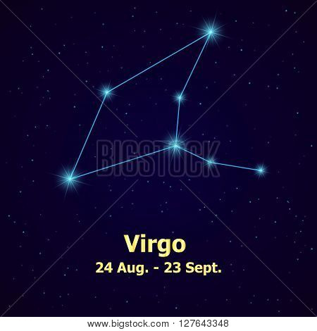 Symbol: Virgo Sign. Vector Illustration. constellation virgo