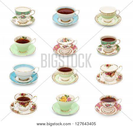 A dozen vintage tea cups on a white background