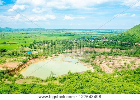 Top View Landscape Of Green Meadow And Lake With Blue Sky And Mountain At Country Side Thailand