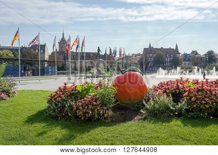 Place Rapp square. Colmar town in Alsace region in France. Apple monument.